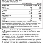 Cellucor Cor-Whey Performance Supplement Facts