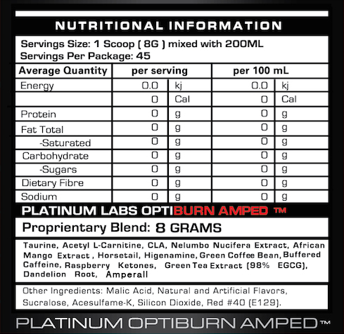 Platinum Labs Optiburn amped info