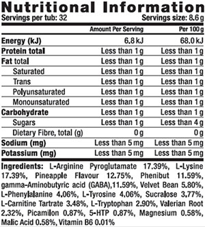 Body War Nutrition War Tropin Supplement Facts