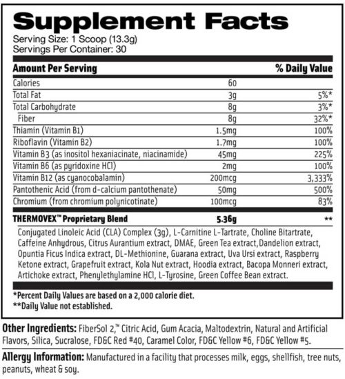 EvoChem Thermovex Supplement Facts